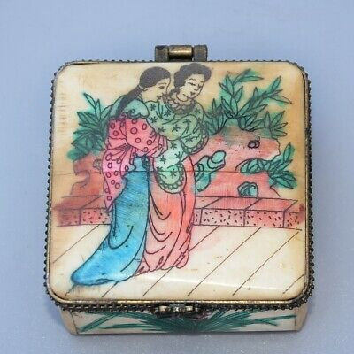 Collectable China Old 0x B0ne Hand-Carved Belle & Bloomy Flower Noble Jewel Box