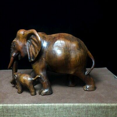 Collectable China Old Boxwood Hand-Carved Lovely Elephant Decorate Unique Statue