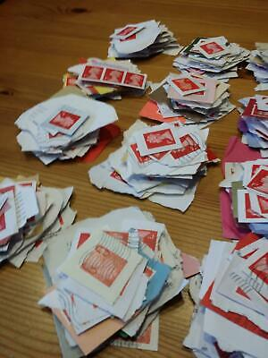 1000x  Royal-Mail 1st Class-red franked security stamps on Paper