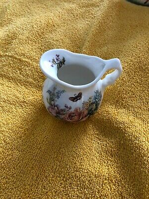 Lovely Small Bone China  Jug Pretty Floral Design And Butterfly.