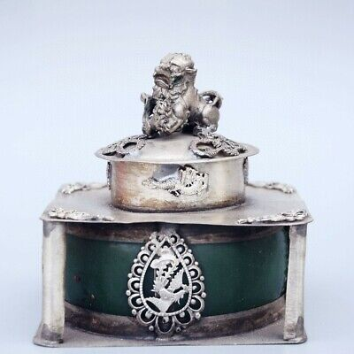 Collect Old Miao Silver Armour Agate Hand-Carved Myth Dragon & Lion Noble Censer