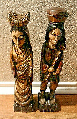 """Wooden Carved King Queen Sculptures Statues Man Woman 18.5"""" tall"""