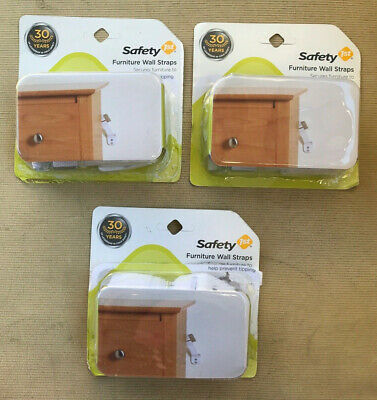 Lot of 3 Safety 1st Furniture Wall Straps Baby Proofing Safety Prevents Tipping