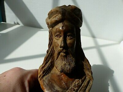 JESUS HAND CARVED WOODEN  BUST FIGURINE 5.5 inches detailed folk art PLEASE READ