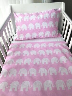Handmade Baby Girl Cot Size Pillowcase Pink Elephants