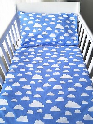 Handmade Baby Boy Cot Size Pillowcase Blue Clouds