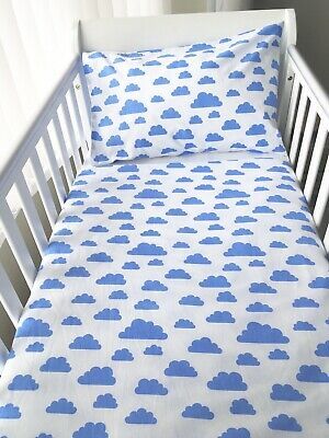 Handmade Baby Boy Cot Size Pillowcase White With Blue Clouds