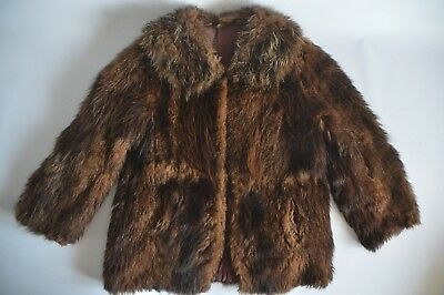 Women's Short Brown Real Fur Vintage Coat With Hook Fastening - Uk 16 / Eur 44