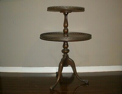 Mahogany Pedestal Tiered Serving Table Stand with Brass Borders by Ferguson Bros