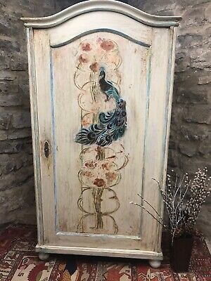 Vintage Pine Armoire /wardrobe With Inlaid Peacock and Flower Design