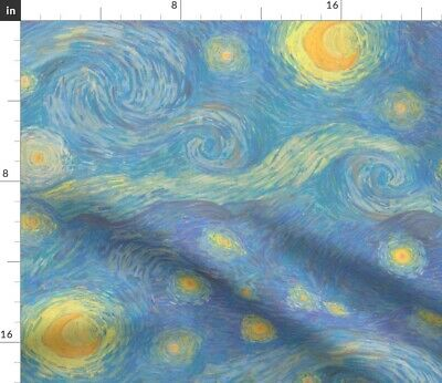 Starry Night Nursery Decor Blue Yellow Pastel Fabric Printed by Spoonflower BTY