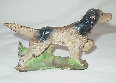 Vtg Antique Hubley Cast Iron POINTER Dog in Reeds Paperweight w/ Original Paint