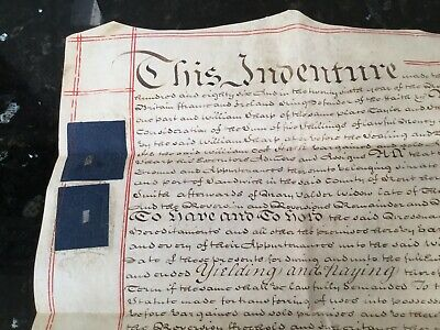 1786 Indenture Document , Antique Deeds , Lease, Contract, Vellum Parchment,