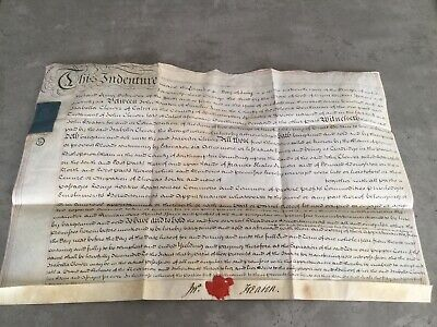 1776 Indenture Document , Antique Deeds , Lease, Contract, Vellum Parchment,