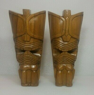 Vintage Wooden Hand Carved Tiki Figure Matched Pair Hawaii Monkey Pod Hula MCM