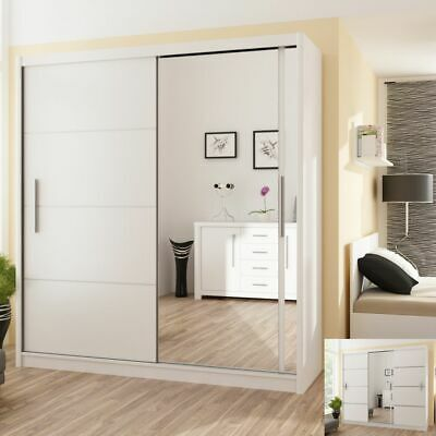 Modern Bedroom Sliding Door Wardrobe with Mirror DAKO VISTA White 4 Sizes