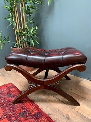 Vintage Leather Saddle Chesterfield Footstool Pouffe Slipper Ox Blood