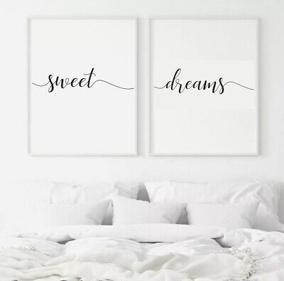Sweet Dreams Quote Print Inspirational Bedroom Love Wall Decor