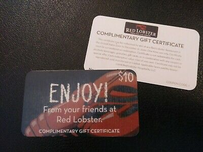 Red Lobster  $10 GIFT CARD,  (EXPIRES 12-31-2020)   FREE SHIPPING