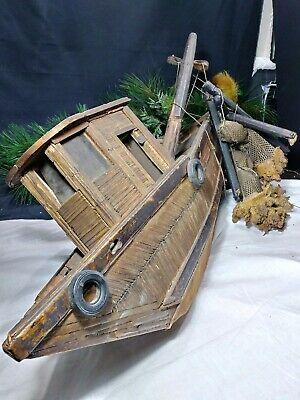 Antique Folk Art Hand Made Wooden Net Boat Trawler Primitive Model Nautical