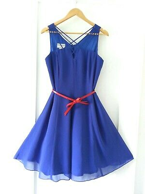 * AFTER EIGHT * Sz 12-14 VINTAGE cobalt blue strappy Party cocktail 80's dress!