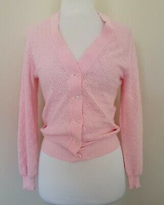 Styleknit Size 12 Vintage Pink Button Up Jumper