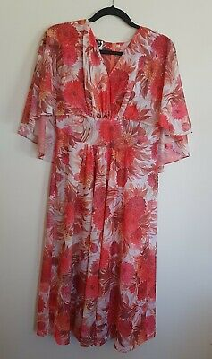 Kenwell Size 12 Vintage Long Floral Print Dress With Cape Detail