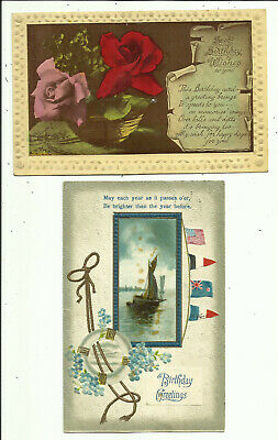 Two Greeting Postcards - Birthday Wishes - Early Century