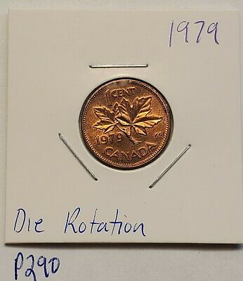ERROR COIN 1979 Rotated Die Rotation Elizabeth II Canada 1 Cent P290