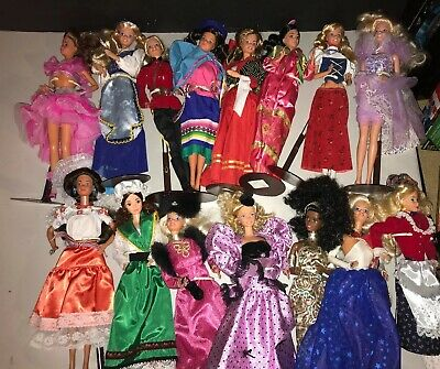 HUGE Mixed Lot of 15 Dolls of the World Mattel Barbie VintageClothes Accs 1990s