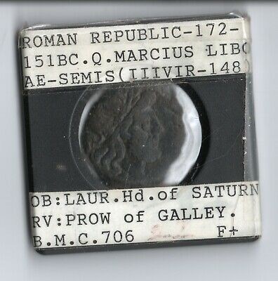 Roman Republic 172-151BC AE-Semis Head of Saturn Q Marcius Prow of Galley Coin
