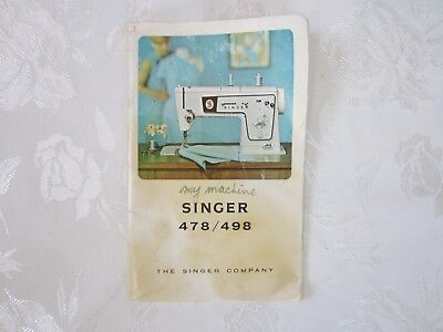 Vintage Singer 478 / 498  Sewing Machine Manual