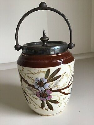 Antique Silver Plate Lidded China Sugar/Jam Pot Barrel -  Handle - Hand Painted.