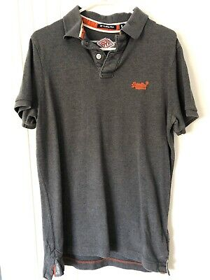 Superdry Mens Logo Classic Grey Polo T Shirt Slim Fit Size L