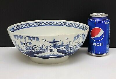 """18th c Antique Worcester Dr Wall Blue & White Chinese Porcelain Bowl 9"""""""