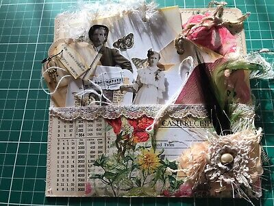 Hand Made Junk Journal Loaded Pocket - Ephemera Tags Collage Vintage Book Pages