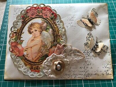Hand Made Junk Journal  Decorated Lined Envelope-Ephemera Tags Collage Vintage