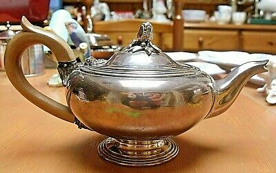 "Antique Christofle Silver Plated Teapot Bachelor Size  8 x 4"" Rose Finial"