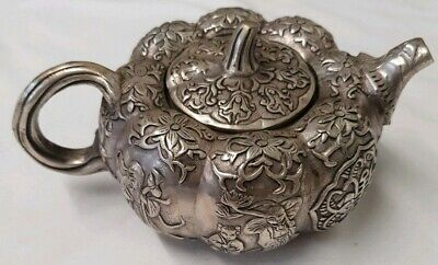 Collection China Qianlong Years Miao Silver Carved Pumpkin Interesting Teapot