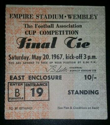 1967 ORIGINAL FA CUP FINAL TICKET TOTTENHAM HOTSPUR  v CHELSEA B19 1704