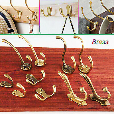 Vintage Solid Brass Single/double Hook Wall Hanger Clothes Hat Coat Hall Bedroom
