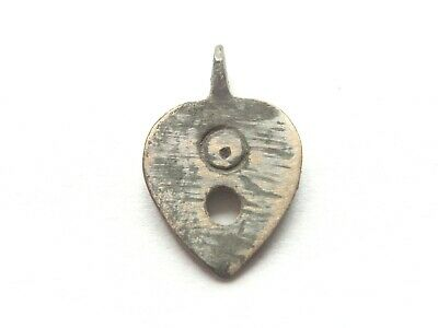 Ancient CELTIC Small Billon *HEART* shaped w/ EVIL EYE motif - protective Amulet