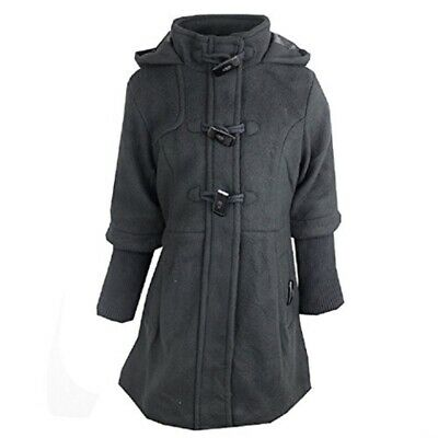 Girls Jacket Brave Soul Black Hooded Fully Lined Knitted Ribbed Sleeves Coat