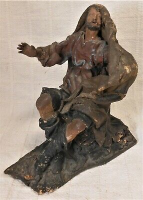 Great Antique Italian Carved And Painted Wood Creche Figure With Canvas Cape