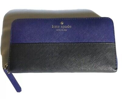 Kate Spade Lacey Wallet Cedar Street Zip Around Indigo and Black