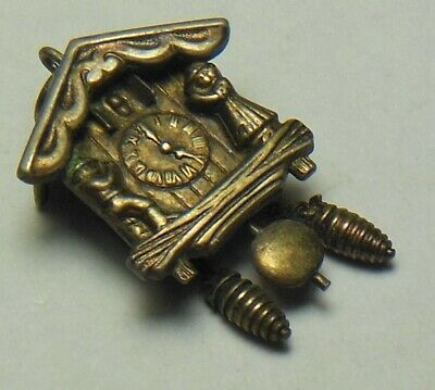 Vtg. Cuckoo clock charm pendant with moving pine cone weights & pendulum