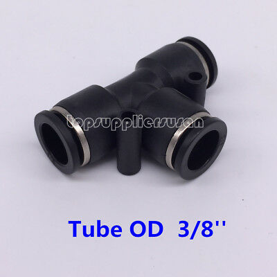 "5pcs Pneumatic Tee Union Connector Tube OD 3/8"" One Touch Push In Air Fitting"
