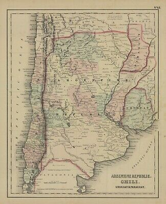 1857 Colton's Argentine Republic, Chili, Uruguay,Paraguay, (Original Map)
