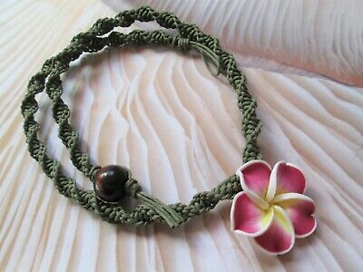 18 INCH Handmade Sage Green Hemp Necklace with Pink Clay Tropical Flower Pendant