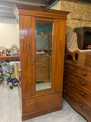 Edwardian Mahogany Single Wardrobe with Bevelled Mirror